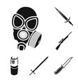 types weapons black icons in set collection vector image vector image
