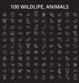 wildlife animals editable line icons set vector image