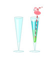wineglass and exotic cocktail vector image