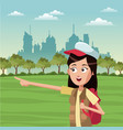 woman tourist with backpack vector image vector image