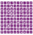 100 money icons set grunge purple vector image vector image