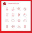16 illness icons vector image vector image