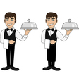 A waiter with a dish vector image