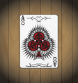 Ace of clubs poker card wood background vector image vector image