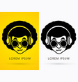 afro head with glasses and headphone vector image