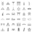 architecture icons set outline style vector image vector image