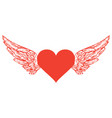 banner with red flying heart with white wings vector image vector image