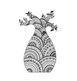 baobab tree coloring page book in zentangle style vector image