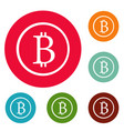 bitcoin sign icons circle set vector image