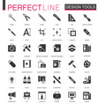 black classic graphic design tools icons set vector image