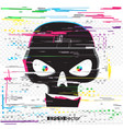 black glitch hacker skull vector image vector image