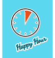 blue happy hour background with clock vector image vector image