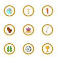 brazilan symbols icons set cartoon style vector image vector image