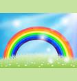 bright rainbow in blue sky vector image vector image