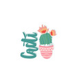 cacti with flowers sketch plant vector image