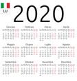calendar 2020 italian monday vector image vector image