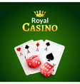 Casino poster design template Dice and poker cards vector image vector image