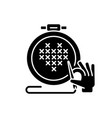 cross stitching black glyph icon vector image vector image