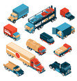 delivery trucks isometric set vector image vector image