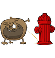 dog pees on hydrant vector image