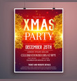 elegant christmas party flyer design with golden vector image vector image