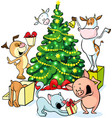 farm animals celebrate Christmas under the tree vector image vector image