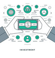 flat line business management and investment vector image vector image