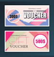 gift voucher template set in flat style vector image vector image