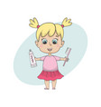 girl brushing teeth isolated cartoon vector image