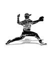 grunge silhouette baseball player vector image