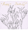 happy birthday card with bunch irises vector image vector image
