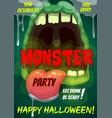 happy halloween party flyer with monster mouth vector image