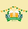 happy international beer day logo vector image vector image