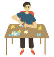 man solving puzzles intellectual games vector image