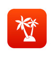 palm trees icon digital red vector image vector image