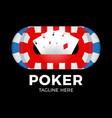 poker logo design template with gambling elements vector image vector image