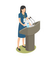 report of young woman on business conference vector image vector image