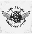 rock and roll t-shirt design with wings and vector image