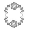 rustic circle branches with leaves and flowers vector image vector image