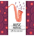 saxophone instrument to music festival celebration vector image vector image