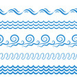 sea water waves seamless borders elements or vector image vector image