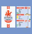 seafood bar menu flat poster vector image vector image