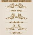 set of filigree damask ornaments floral golden vector image vector image