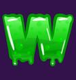 slime font type letter w latin alphabet green vector image vector image