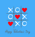tic tac toe game with criss cross and three red vector image