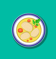 top view sliced gefilte fish soup in bowl vector image