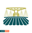 Tractor watering soil and fertilizing field icon
