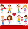 valentines day cards love set cartoon vector image