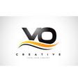 vo v o swoosh letter logo design with modern vector image vector image