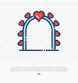 wedding arch thin line icon with hearts vector image